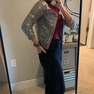 Sequin tan cropped cardigan
